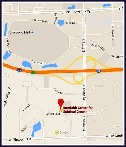 Interfaith Center for Spiritual Growth Ann Arbor - Image of Clickable Google Map