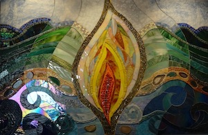Interfaith sanctuary mosaic showing the four elements - flame, hills, waves, and sky, by Lucie Nisson