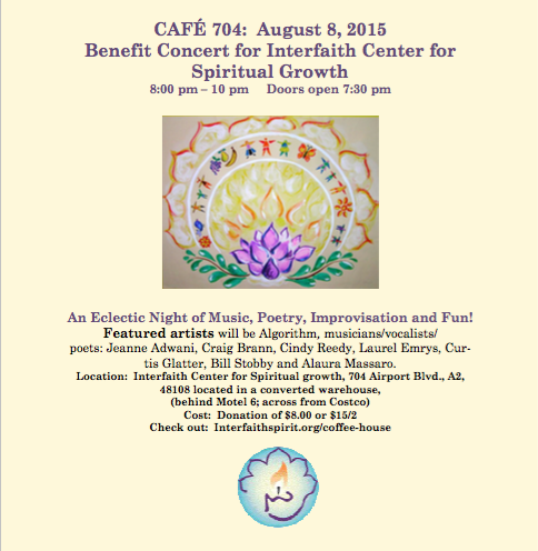 Cafe 704 coffeehouse event to benefit the Interfaith Center featuring Alaura Massaro and Friends.
