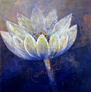 White lotus on blue background, with the inscription Namaste, a Sanskrit term meaning the Divinity in Me salutes the Divinity in you.