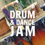 drum circle & dance jam placeholder - image of many drums used at drum circle