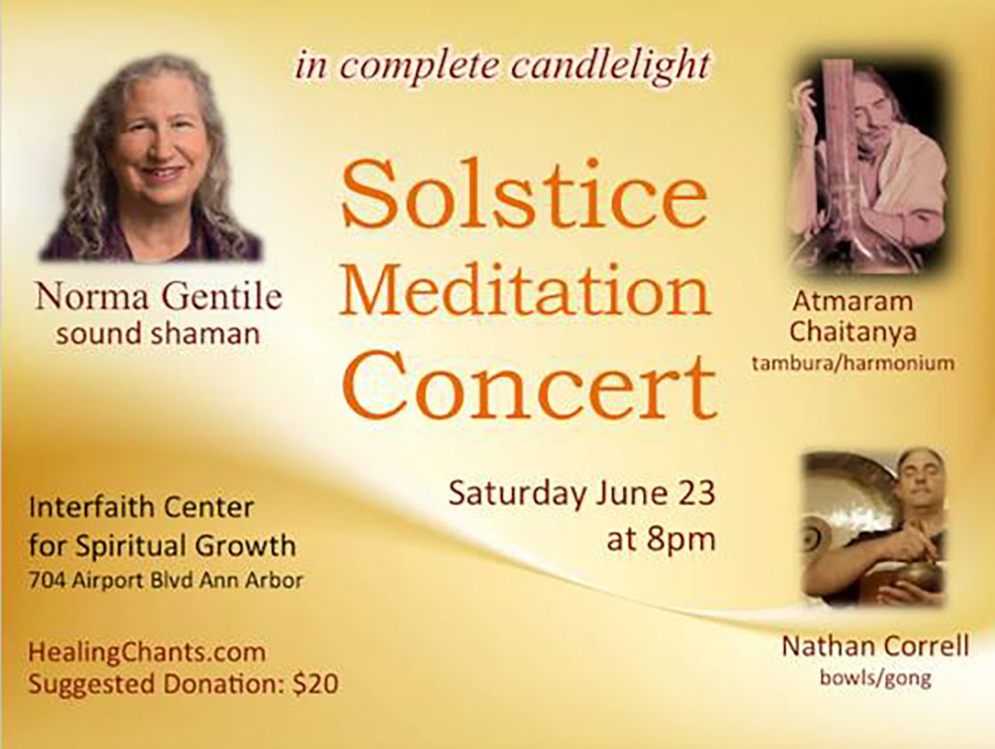 solstice meditation concert with Norma Gentile